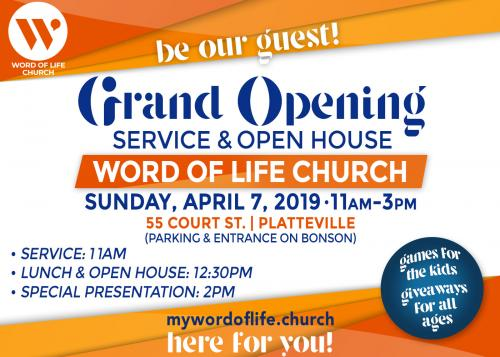 Word Of Life Church Grand Opening Open House Platteville Wisconsin